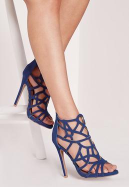Sandales ajourées bleues à talon
