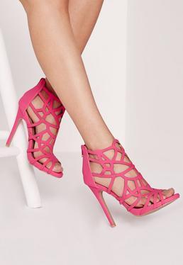 Sandales à talons rose