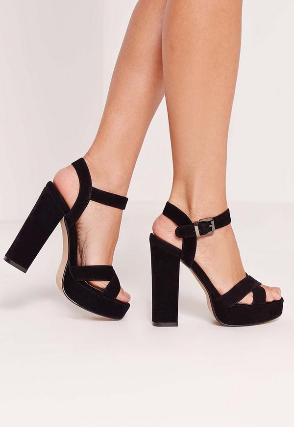 Cross Strap Platform Heeled Sandal Black