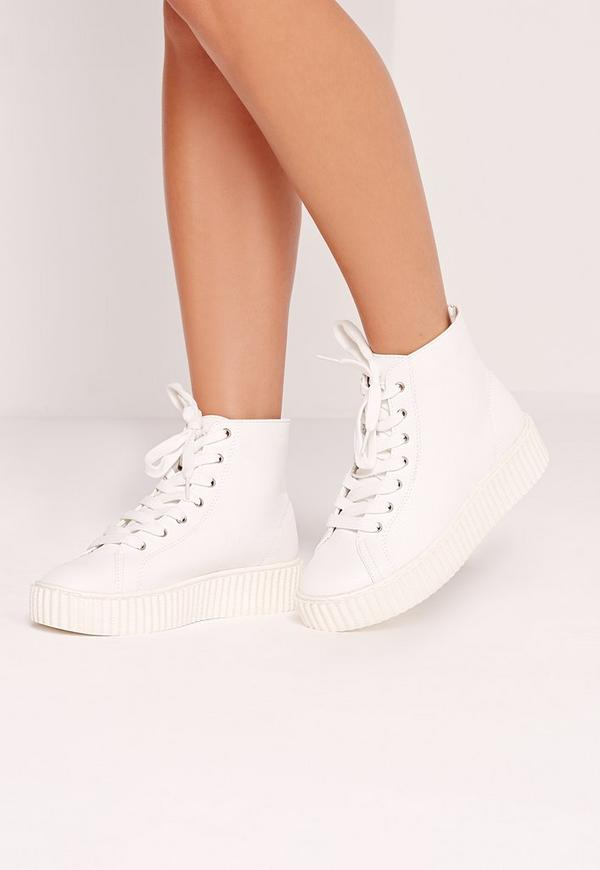Flatform Lace Up High Top Trainer White