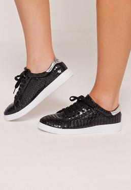 Silver Tab Croc Lace Up Tennis Trainers Black