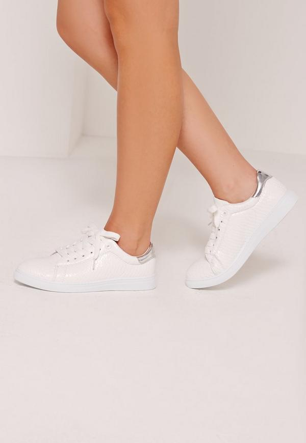 Silver Tab Croc Lace Up Tennis Trainer White