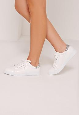 White Tab Croc Lace Up Sneakers