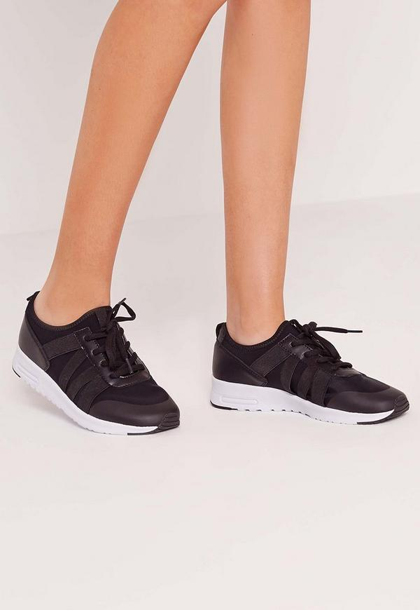 Elastic Strap Lace Up Trainer Black