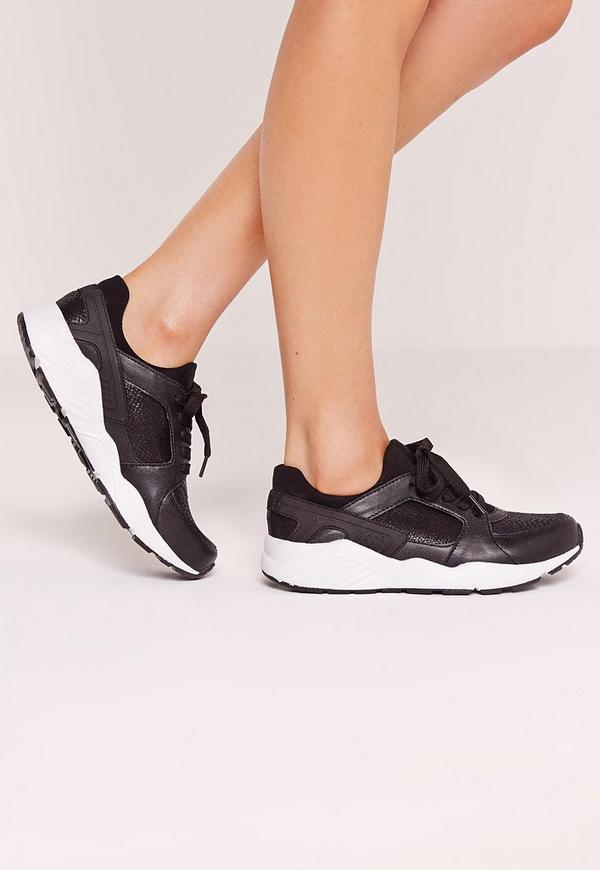 Embossed Outsole Croc Trainer Black