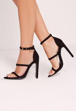 Black Pointed Toe Three Strap Barely There Heels