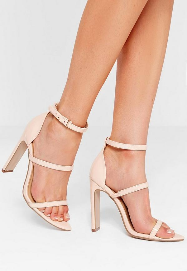 Nude Pointed Toe Three Strap Barely There Heels