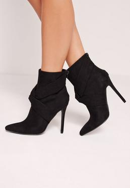 Twist Front Heeled Ankle Boots Black