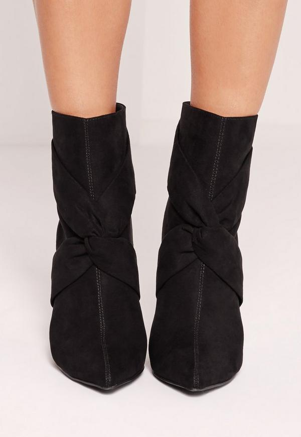 Twist Front Heeled Ankle Boots Black Missguided