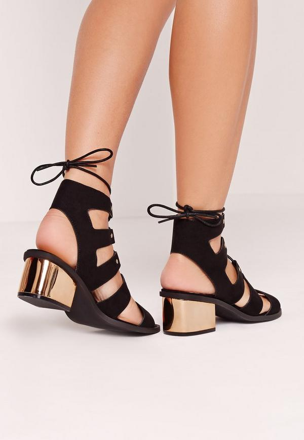 Low Bold Block Heel Lace Up Sandal Black | Missguided