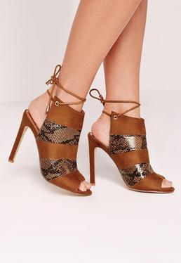 Peep Toe Lace Back Ankle Heels Tan