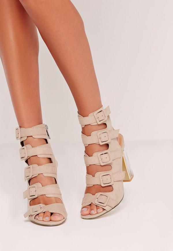 Sandales nude à talon carré transparent