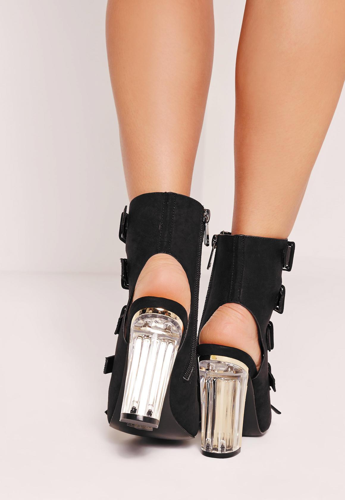 Buckle Detailed Block Heeled Sandals Black