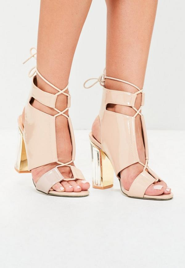 Clear Block Heel Lace Up Sandal Nude