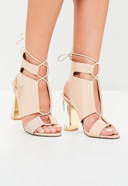 Perspex Block Heel Lace Up Sandal Nude
