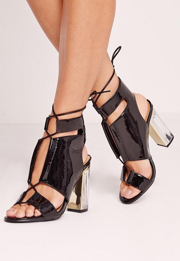 Perspex Block Heel Lace Up Sandal Black