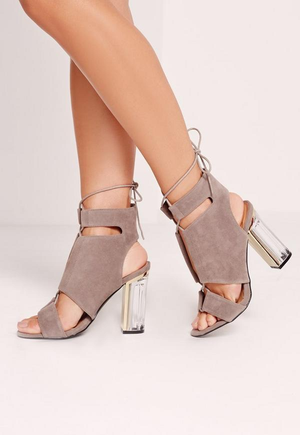 Perspex Block Heel Lace Up Sandals Grey
