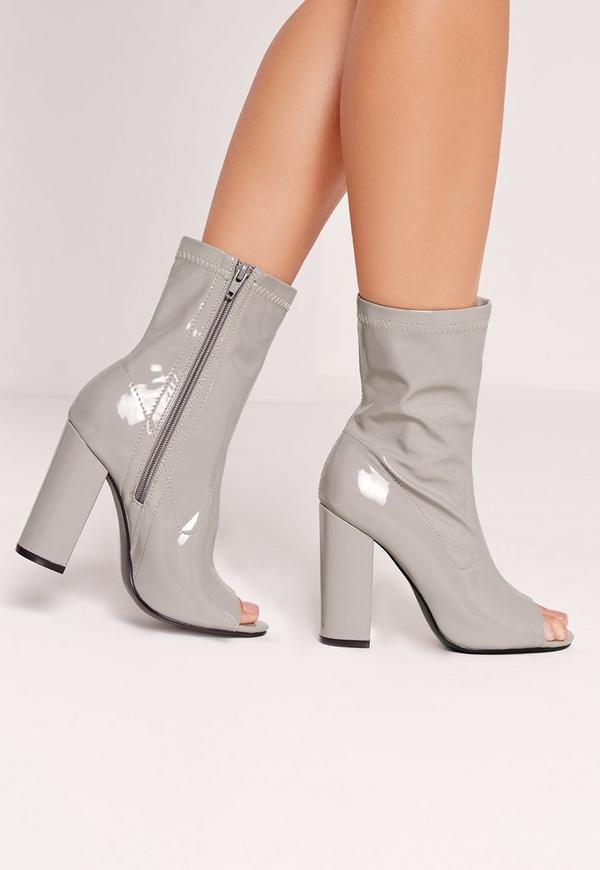 Peep Toe Block Heel Patent Boots Grey