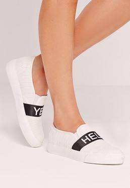 Hell Yeah Skater Pumps White