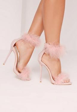 Sandales roses à talons et double attaches en plumes