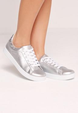 Silver Glitter Tab Sneakers