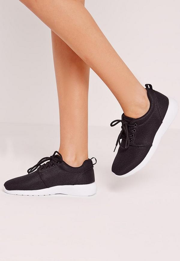 Lace Up Trainers Black