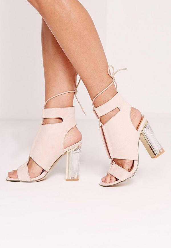 Perspex Block Heel Lace Up Sandal Pink