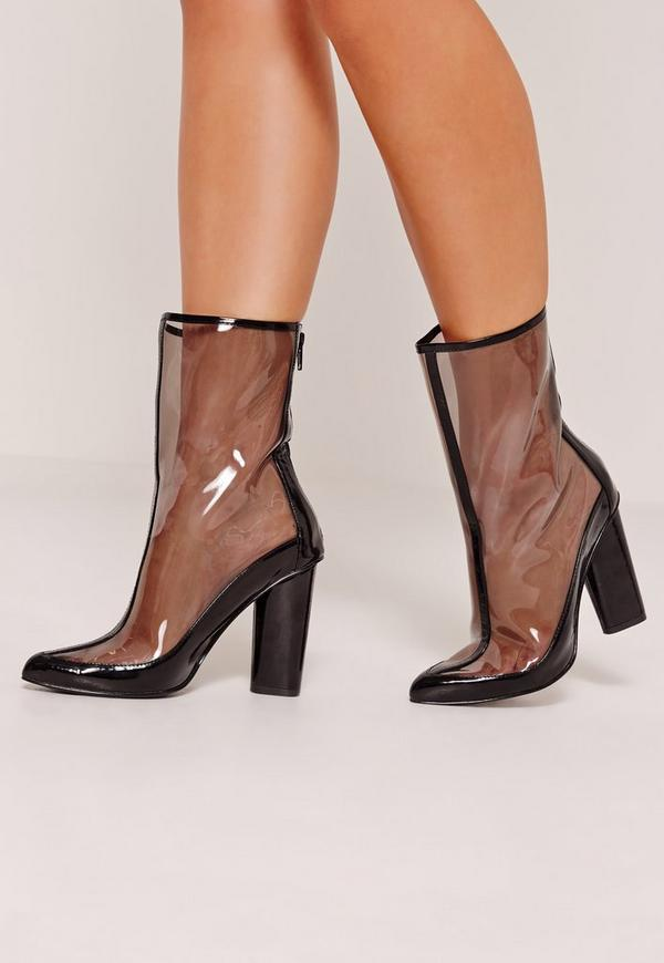 Perspex Pointed Toe Ankle Boots Black