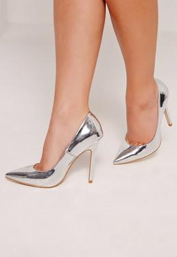 Silver Mirrored Court Shoes