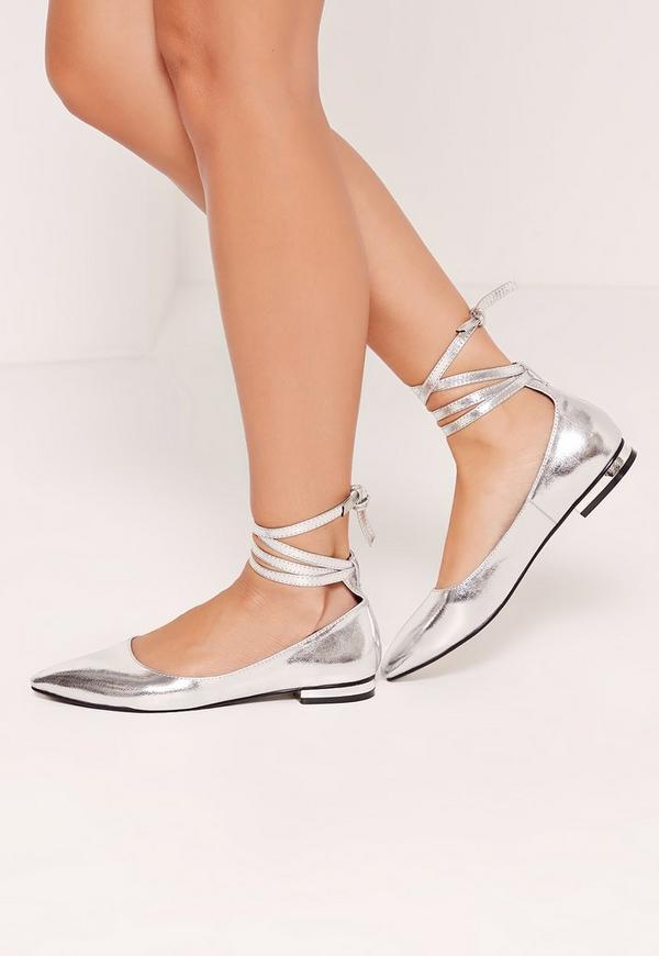 High Shine Lace Up Flat Shoes Silver