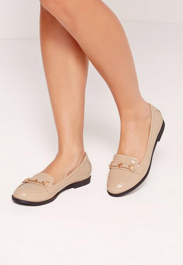 Metal Bar Detail Loafer Shoes Nude