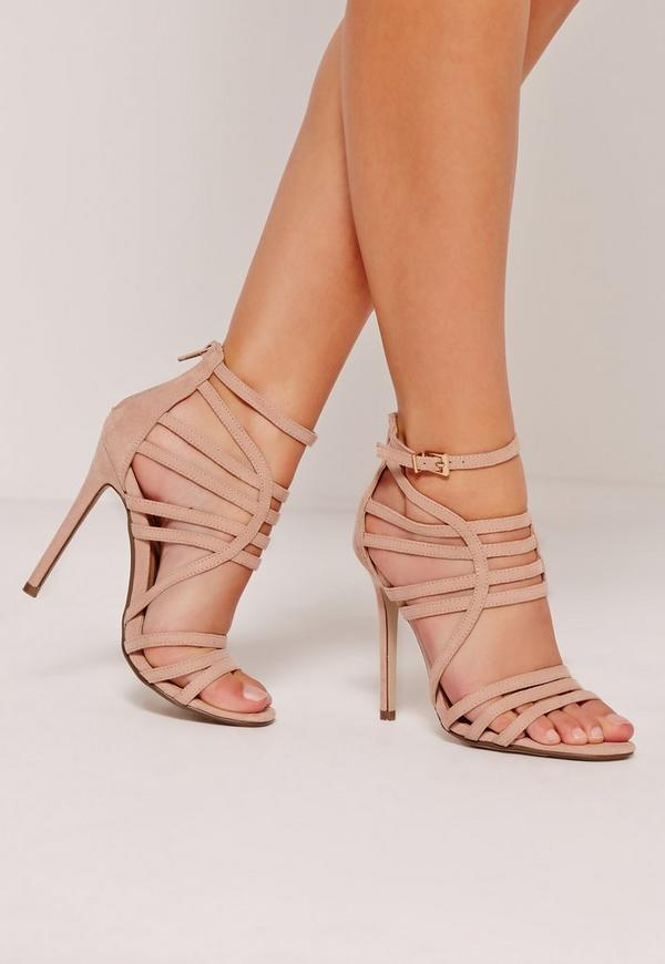 Extreme Strappy Gladiator Heels Nude