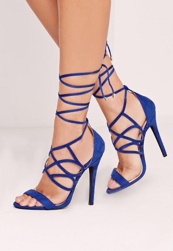 Curved Strap Wrap Around Heeled Sandal Cobalt Blue