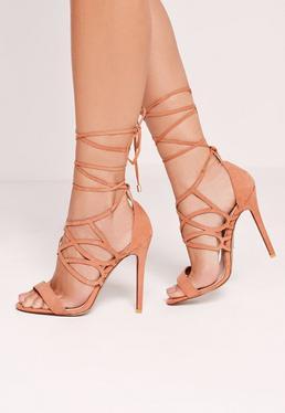 Sandales à talon lacées en suédine rose clair
