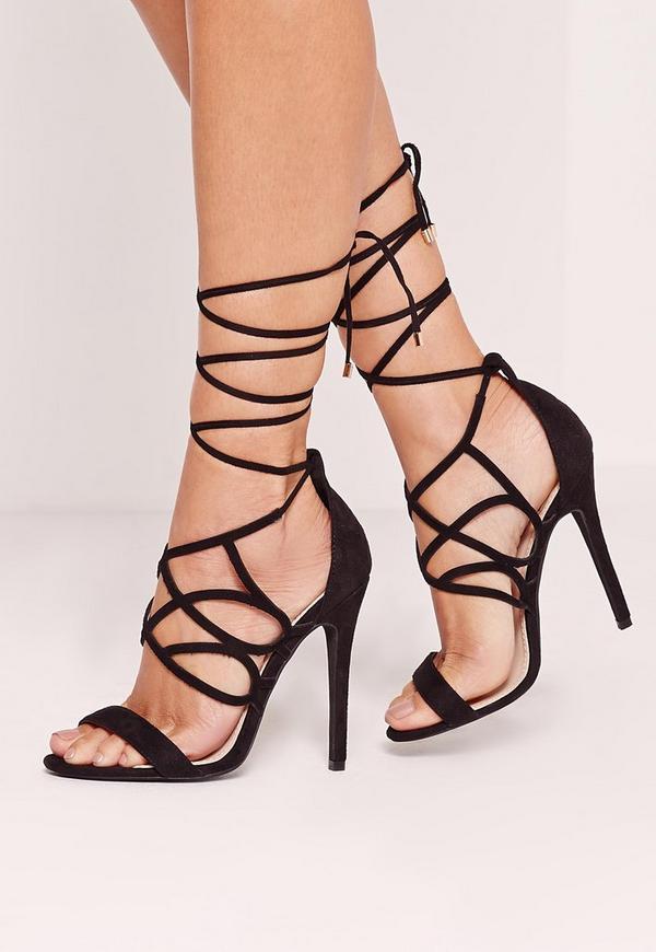 Curved Strap Wrap Around Heeled Sandals Black