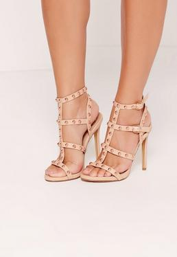 Dome Studded Gladiator Heels Nude