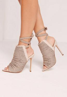 Rope Detail Peep Toe Ankle Boots Nude