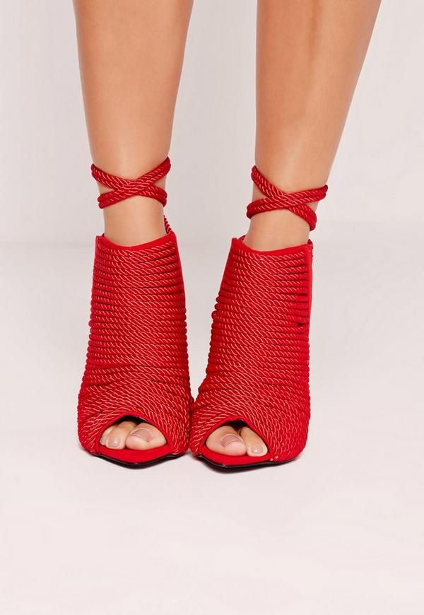 Red Rope Detail Heeled Ankle Boots Red | Missguided