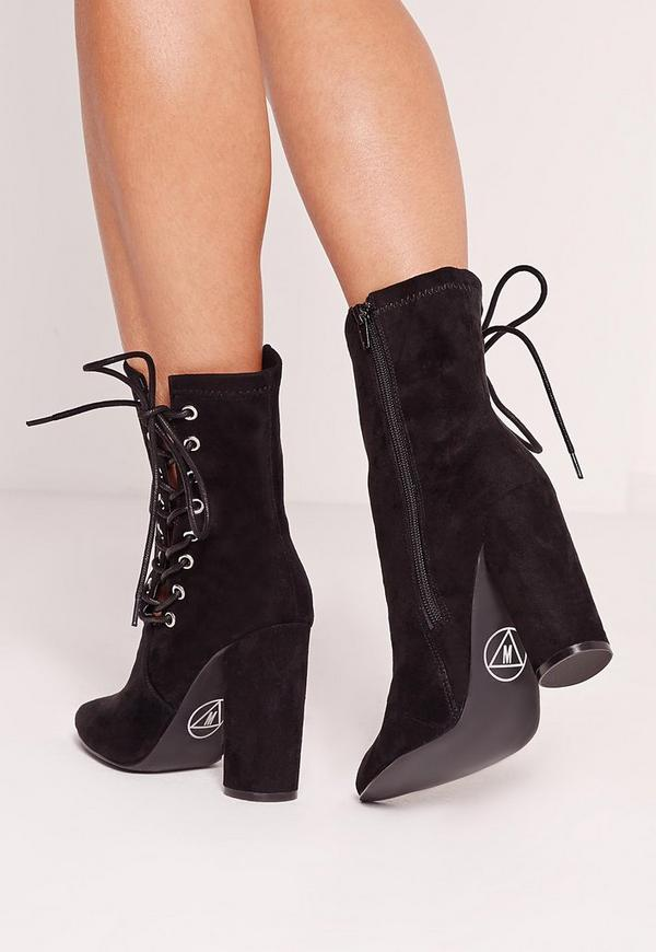 Black Faux Suede Eyelet Lace Up Heeled Ankle Boots