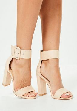 Oversized Buckle Block Heels Nude