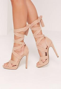 Wrap Around Strap Platform Heels Nude