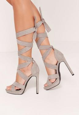 Wrap Around Strap Platform Heels Grey