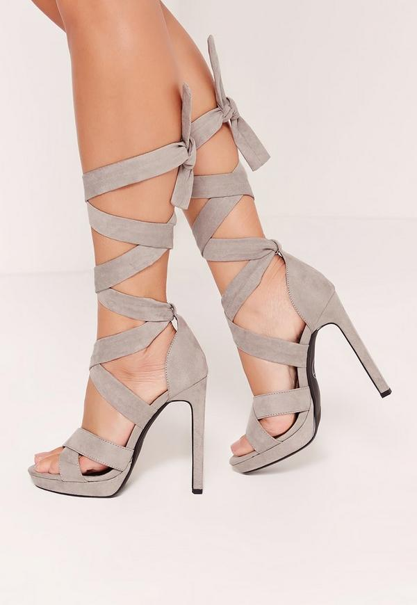 Wrap Around Strap Platform Heels Grey
