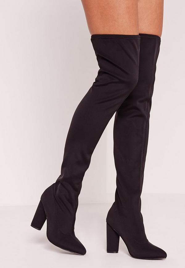 Black Over The Knee Heeled Boots - Missguided