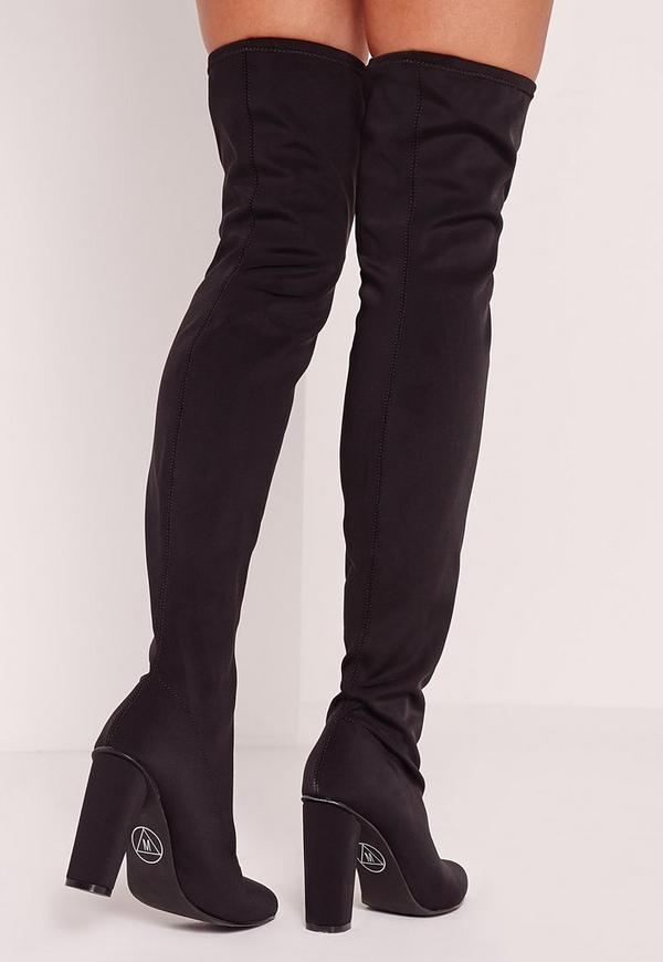 Neoprene Over The Knee Sock Boots Black Missguided