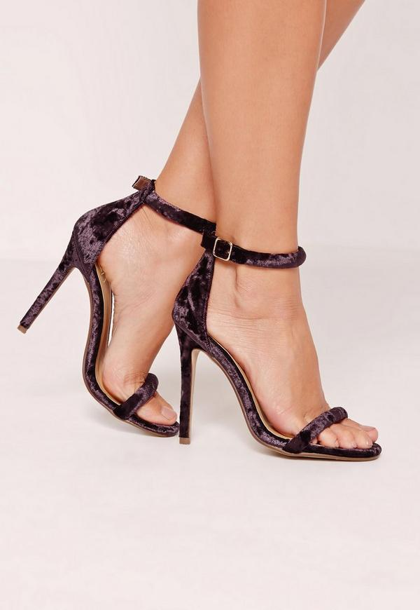 Purple Velvet Rounded Strap Barely There Heels