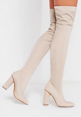 Spitze Overknee-Stiefel aus Neopren in Creme