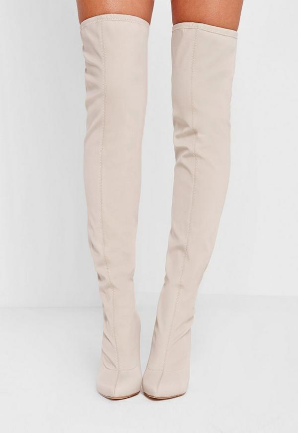 Pointed Toe Neoprene Over The Knee Boot Cream - Missguided