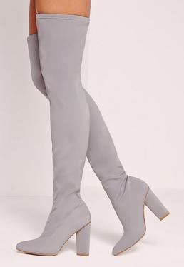 Spitze Overknee-Stiefel aus Neopren in Grau