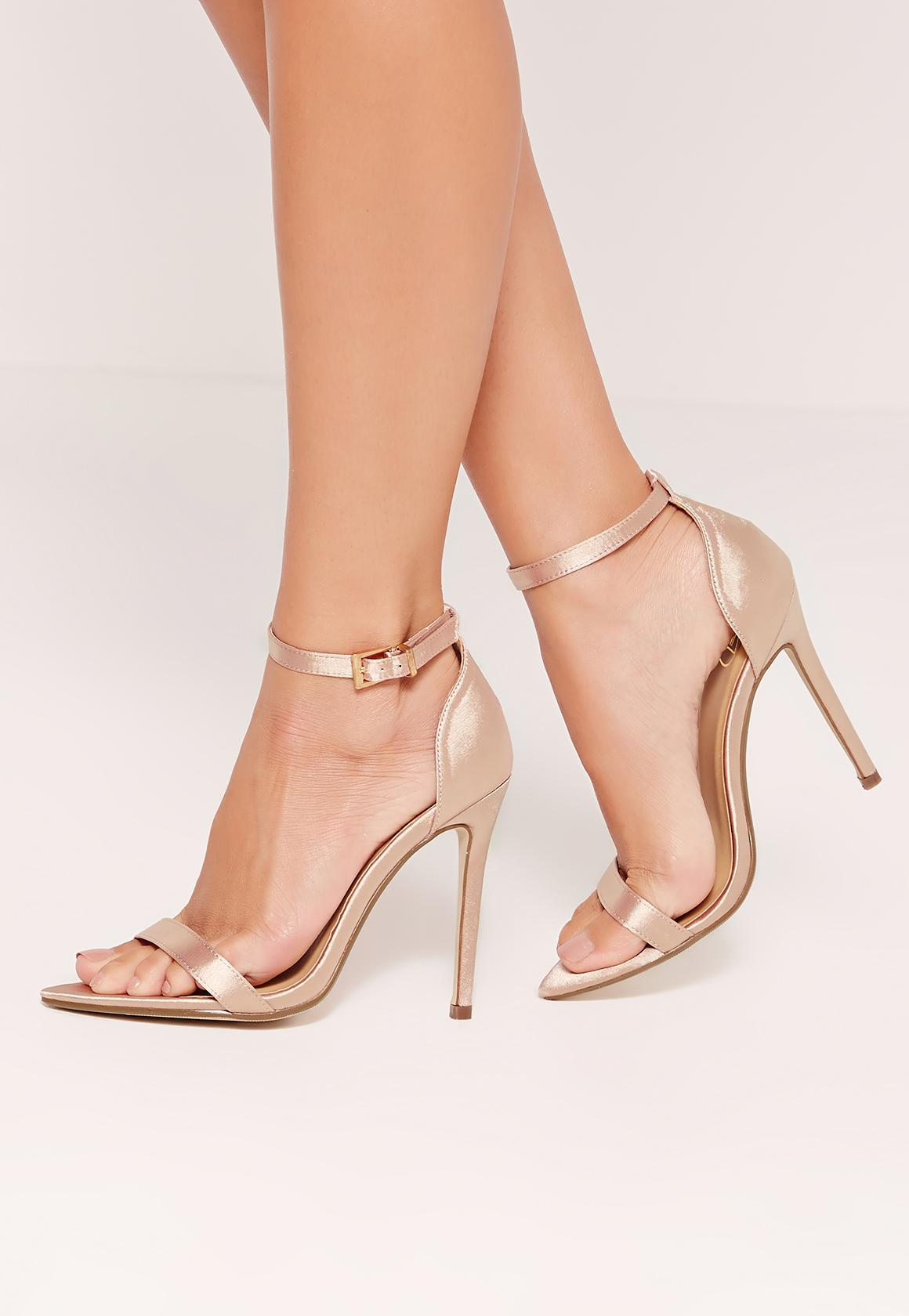 Satin Pointed Toe Barely There Heels Gold - Missguided